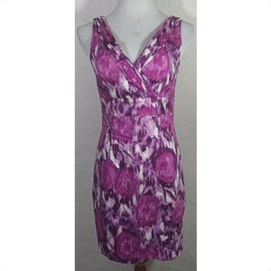 H&M Dress Size 8 Purple Watercolor Pleated V Neck